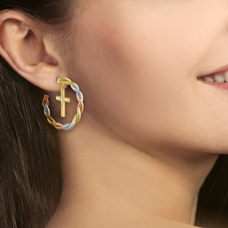 Radiant Hope Copper Cross Hoop Earrings 10211 0012 m model