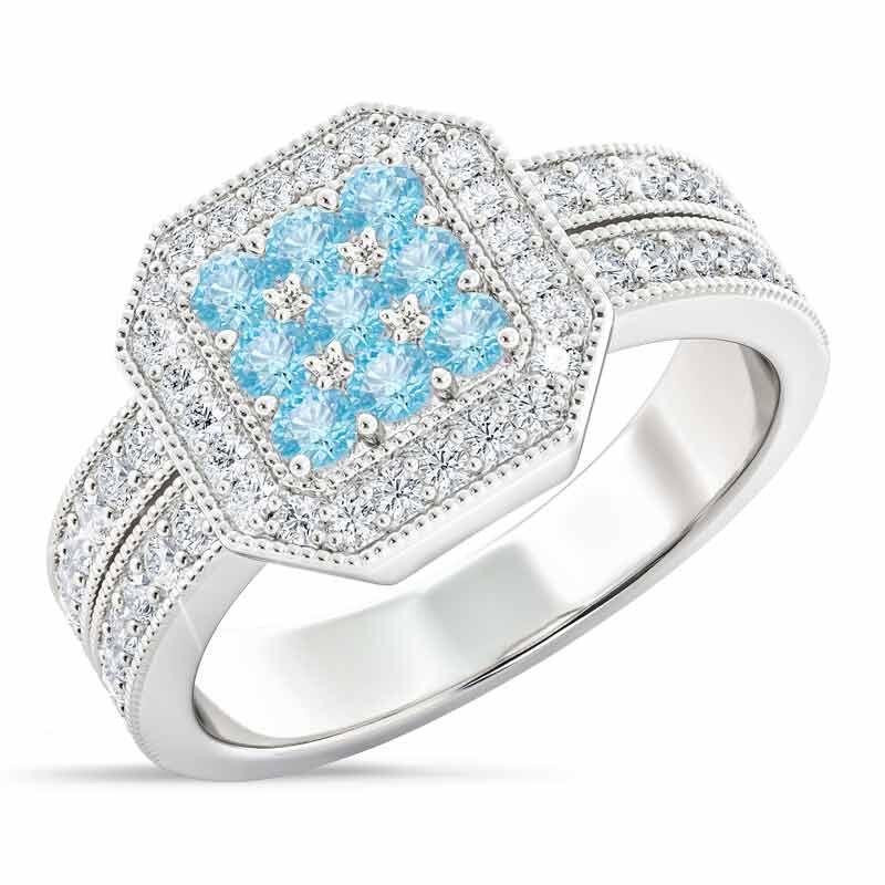 Flair  Square Personalized Birthstone  Diamond Ring 2306 001 5 3