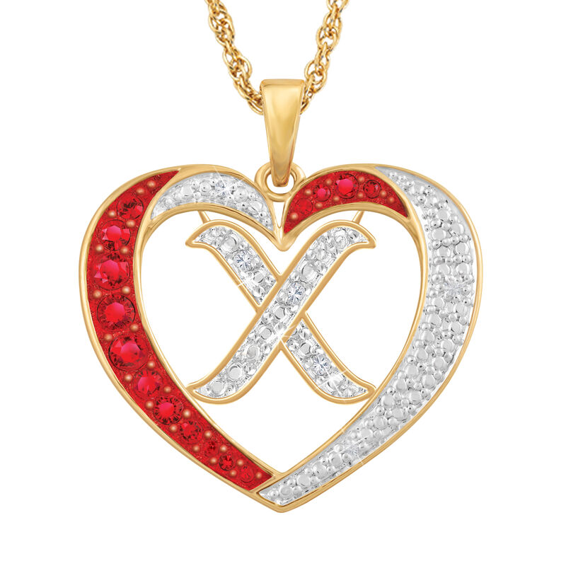 For My Daughter Diamond Initial Heart Pendant 10119 0015 a x initial