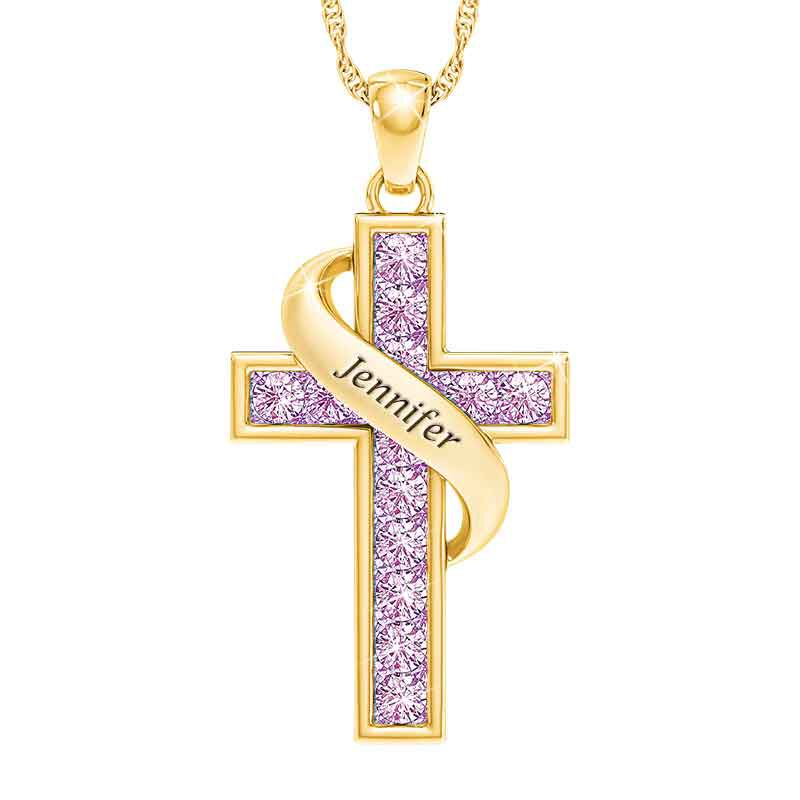 Personalized Birthstone Cross Pendant 5657 001 3 6