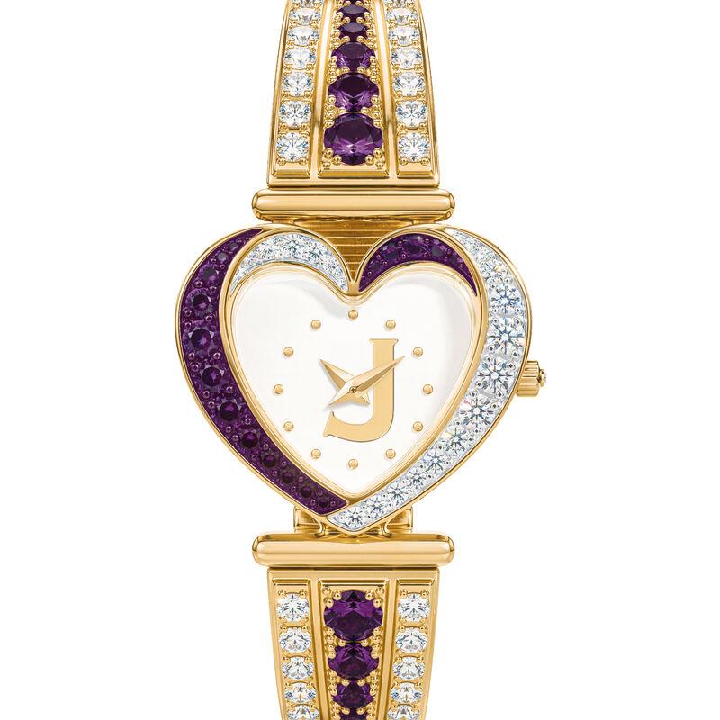 Womens Birthstone Initial Heart Watch 10332 0016 b february