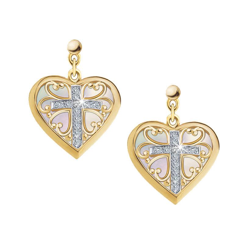 Blessed Daughter Diamond Cross Earrings 5444 002 9 1