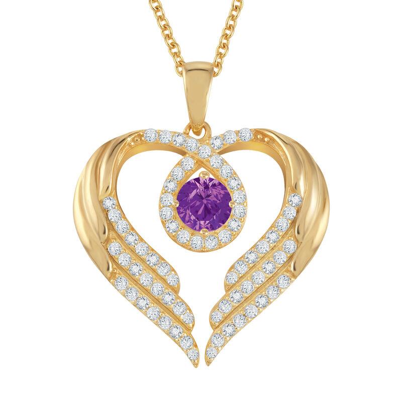 Birthstone Pendant Angel Heart Wing 6721 0013 b february