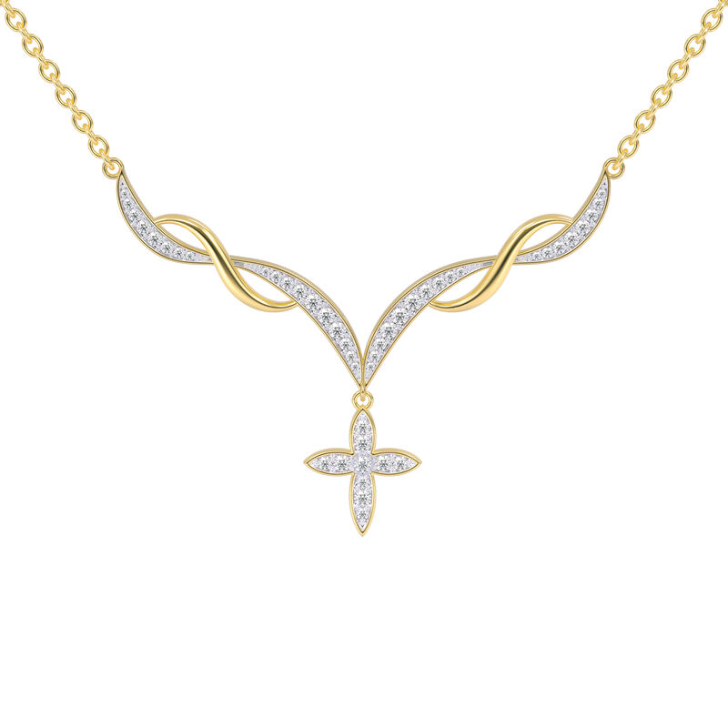 Heavenly Swirl Cross Necklace and Earrings Set 6892 0016 b necklace