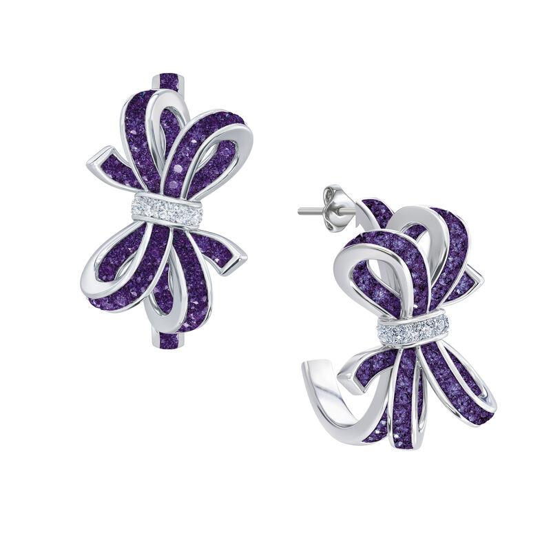 Birthstone Diamond Bow Earrings 1876 0066 b february