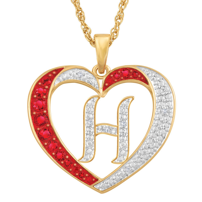 Personalized Diamond Initial Heart Pendant with FREE Poem Card 2300 0060 h initial