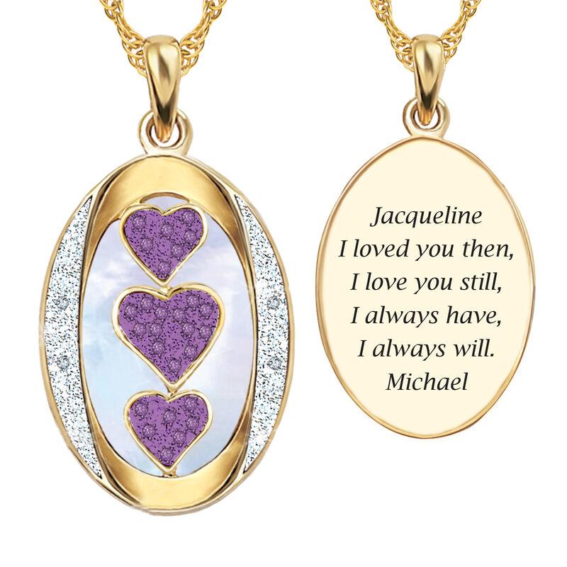 I Love You Custom Birthstone and Diamond Pendant 10702 0018 f june