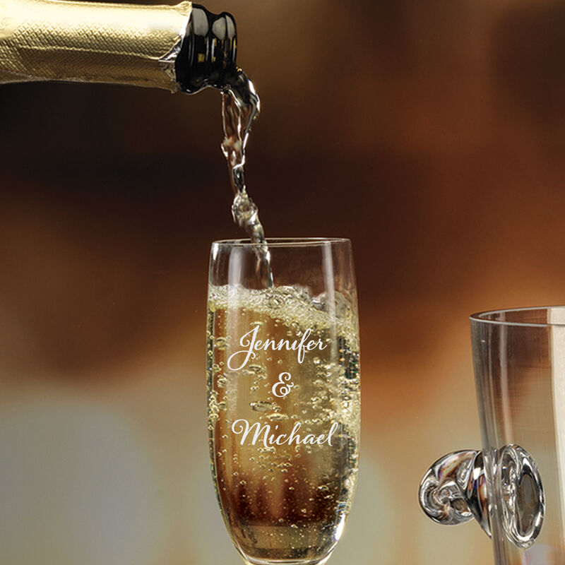 The Personalized Couples Champagne Set 10036 0023 c pouring champagne