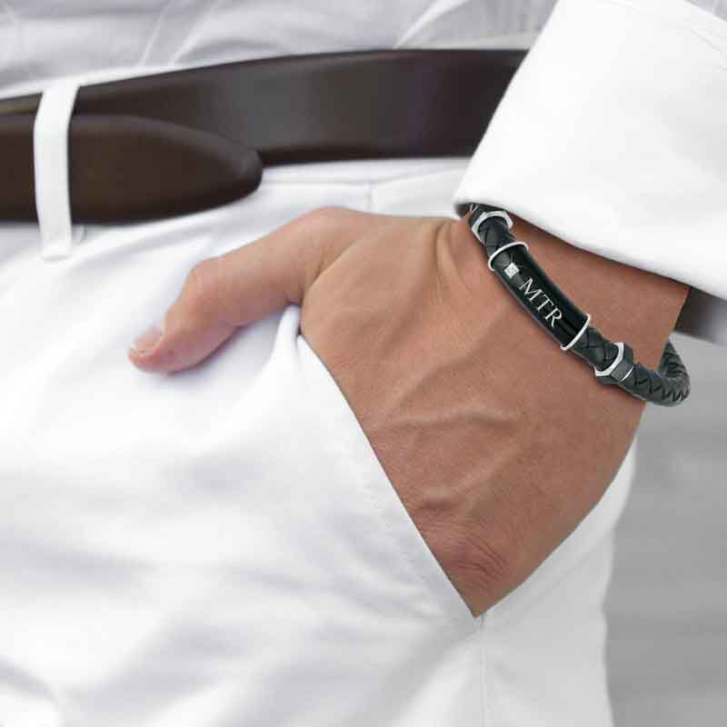 Black Ice Mens Leather Bracelet 1981 005 0 3