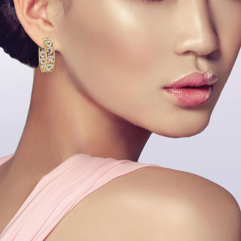 Personalized Diamond Hoop Earrings 10059 0017 m model