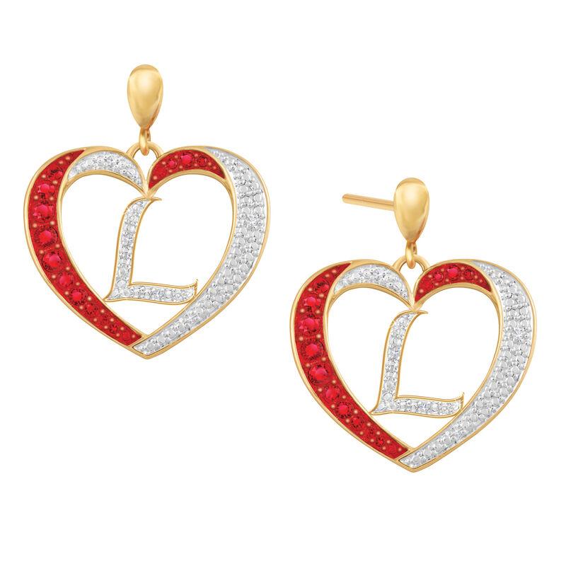 Diamond Initial Heart Earrings 2300 0094 l initial