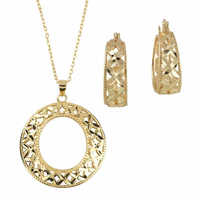 Golden Kisses Diamond Cut Hoops wPendant 2257 004 8 1
