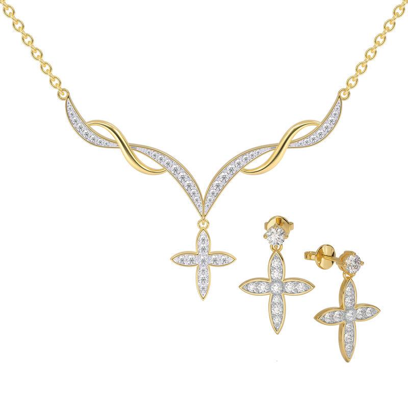 Heavenly Swirl Cross Necklace and Earrings Set 6892 0016 a main