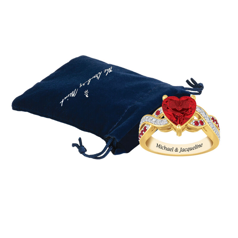 Our Love Is True Ruby Red Heart Ring 10041 0018 g gift pouch
