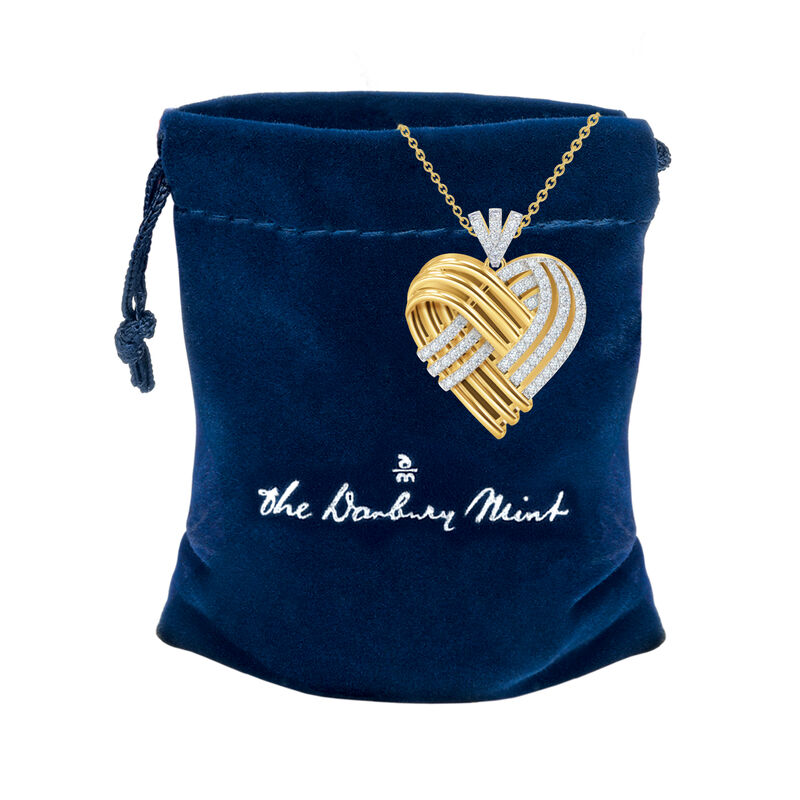 Woven Together Anniversary Heart Pendant 10134 0024 g gift pouch