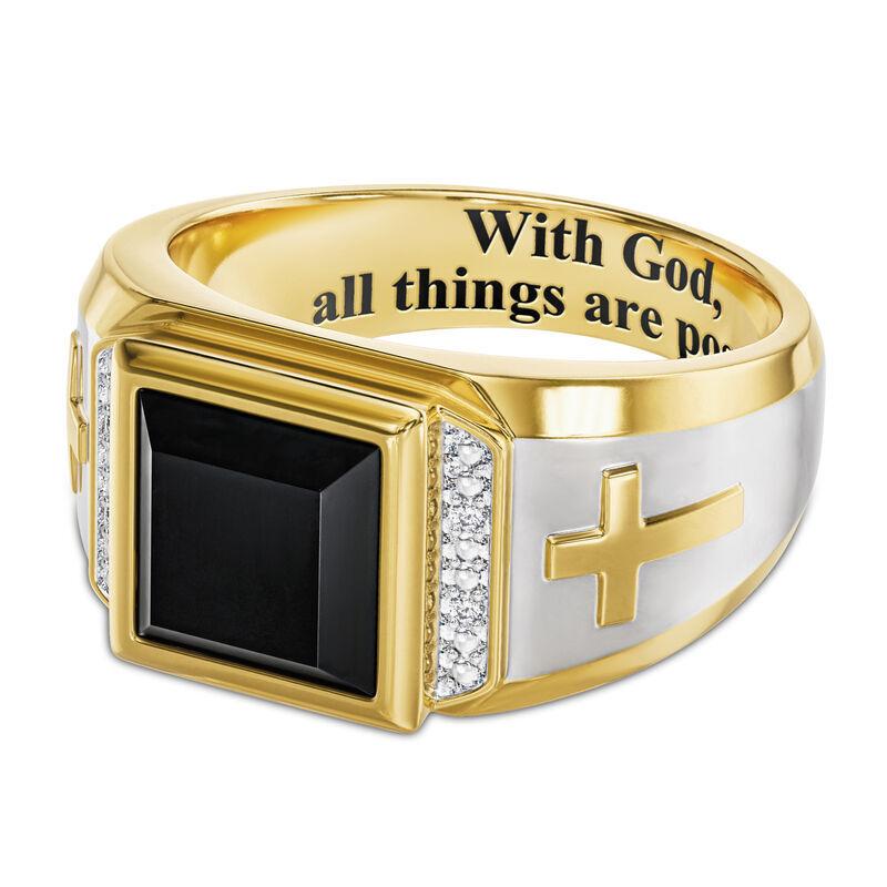 Divine Strength Diamond  Onyx Ring 6783 001 8 2