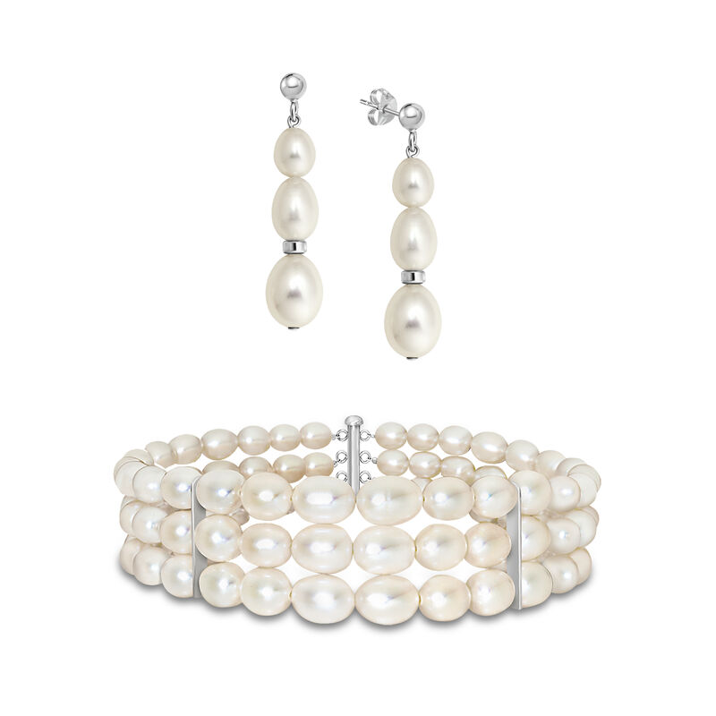 Sweet Harmony Cultured Pearl Bracelet and Earring Set 4982 0053 a main