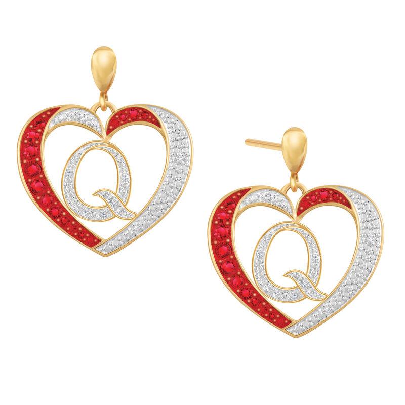 Diamond Initial Heart Earrings 2300 0094 q initial