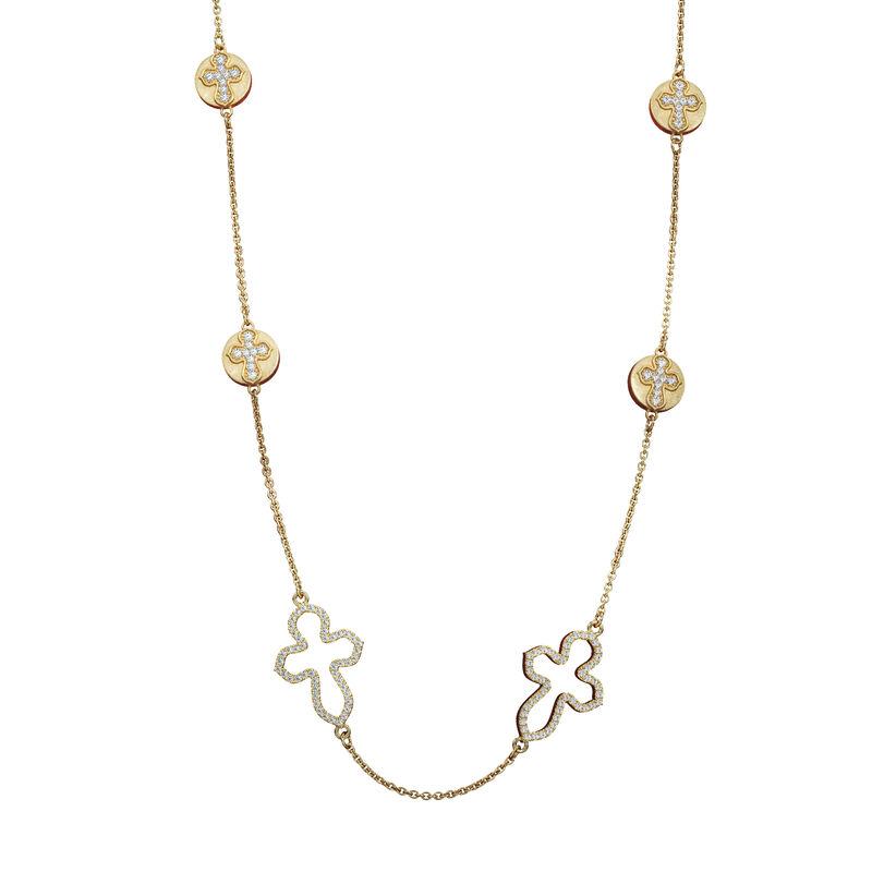 Dazzling Faith Long Cross Necklace 10178 0013 a main