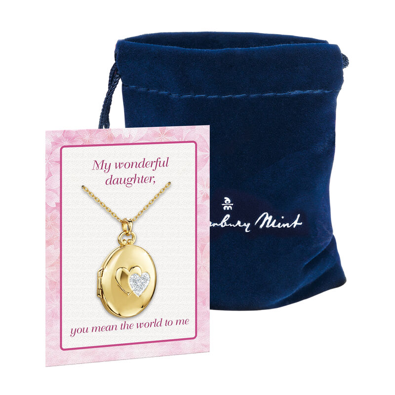 You Mean the World to Me Daughter Diamond Locket Pendant 10216 0017 g giftpouch poem