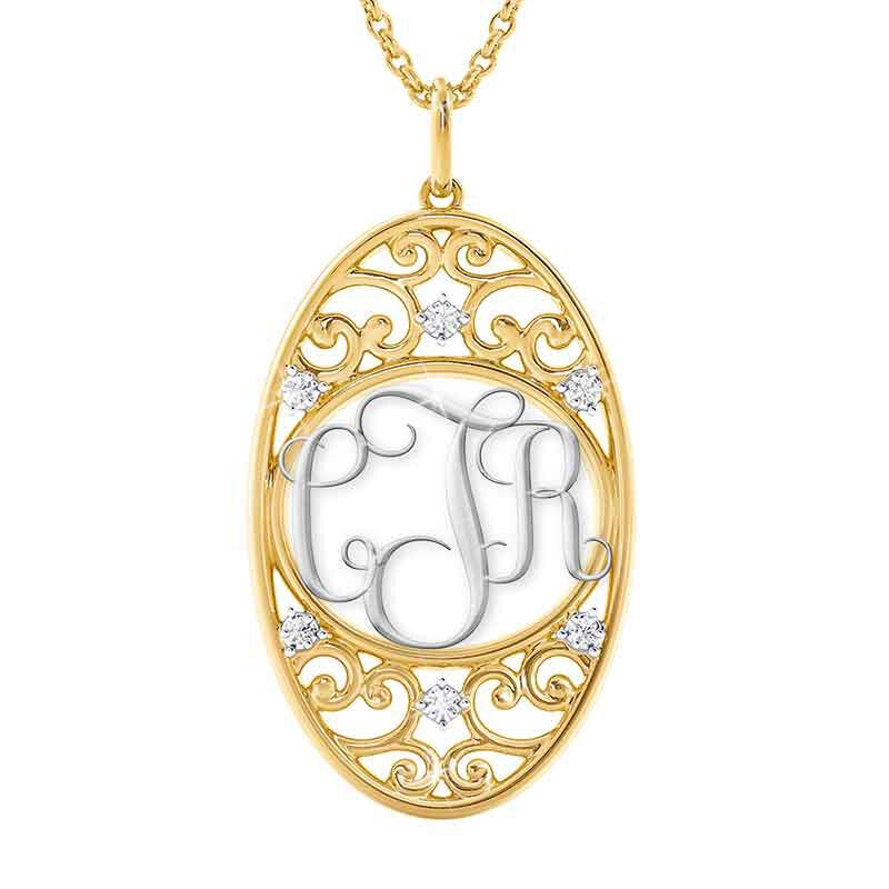 Personalized Diamond Monogram Pendant 6108 001 6 1
