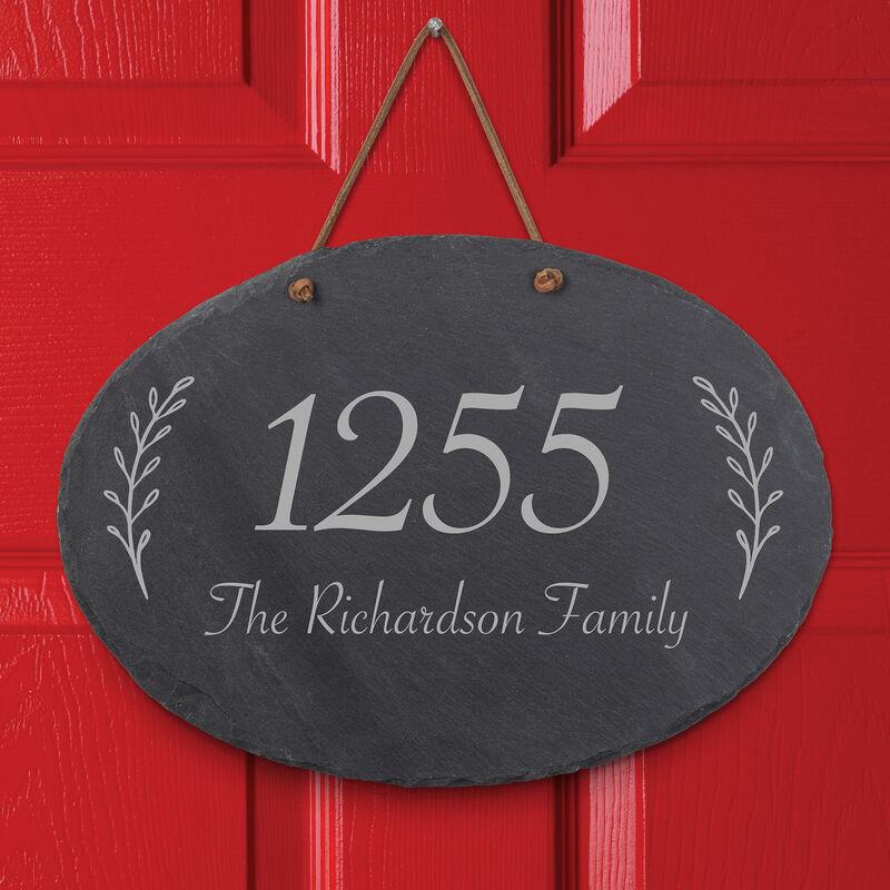 The Personalized Family Slate Address Sign 10607 0014 b closeup