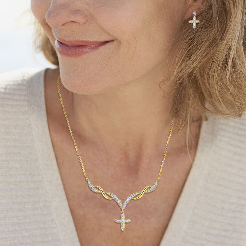 Heavenly Swirl Cross Necklace and Earrings Set 6892 0016 m model