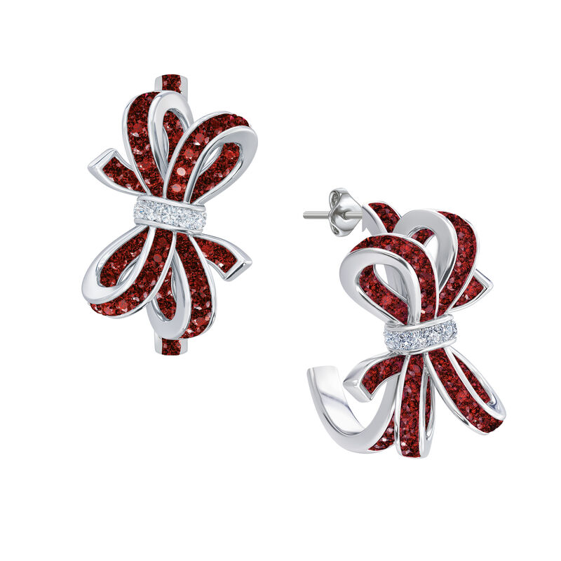 Birthstone Diamond Bow Earrings 1876 0066 g july