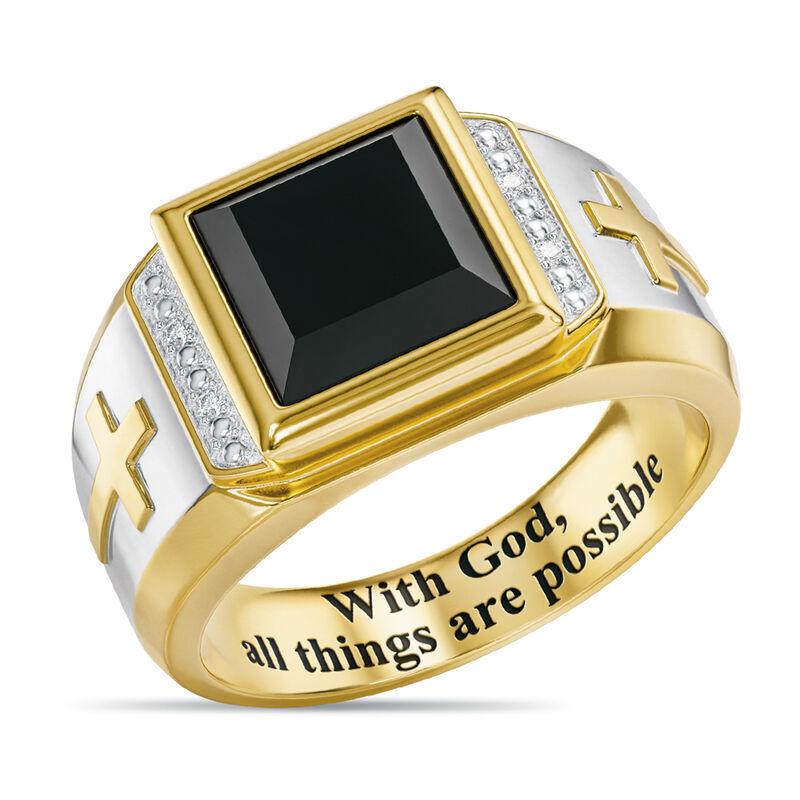 Divine Strength Diamond  Onyx Ring 6783 001 8 1