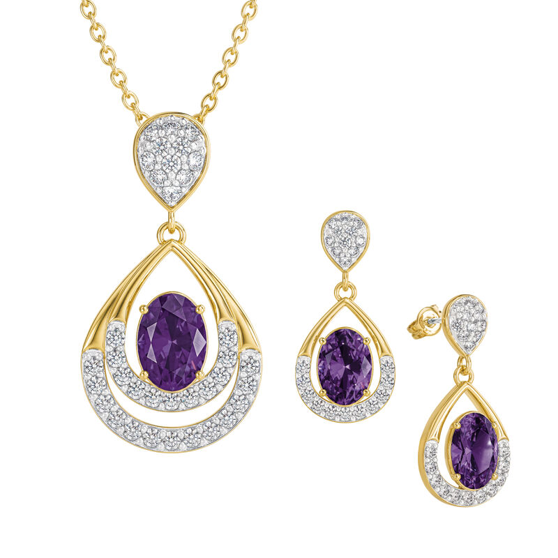 Birthstone Necklace Earring Set 6930 0010 b february