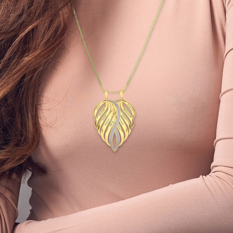 Personalized Family Angel Wing Necklace 10446 0019 m model