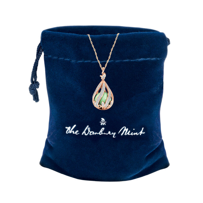 Copper Embrace Diamond and Jade Necklace 10306 0018 g gift pouch