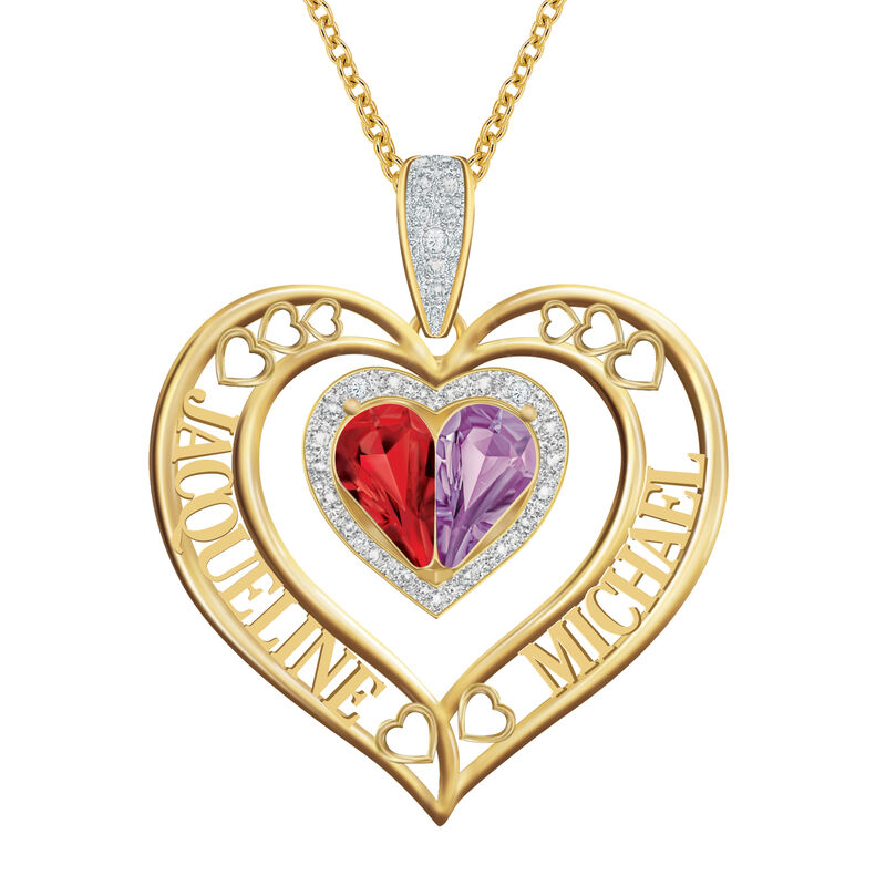 Joined in Love Birthstone Diamond Heart Pendant 10274 0016 a main
