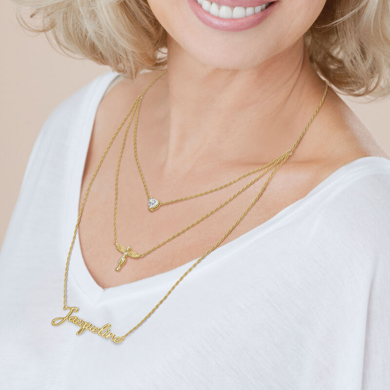 Someone to Watch Over My Daughter Layered Angel Necklace 10350 0013 m model