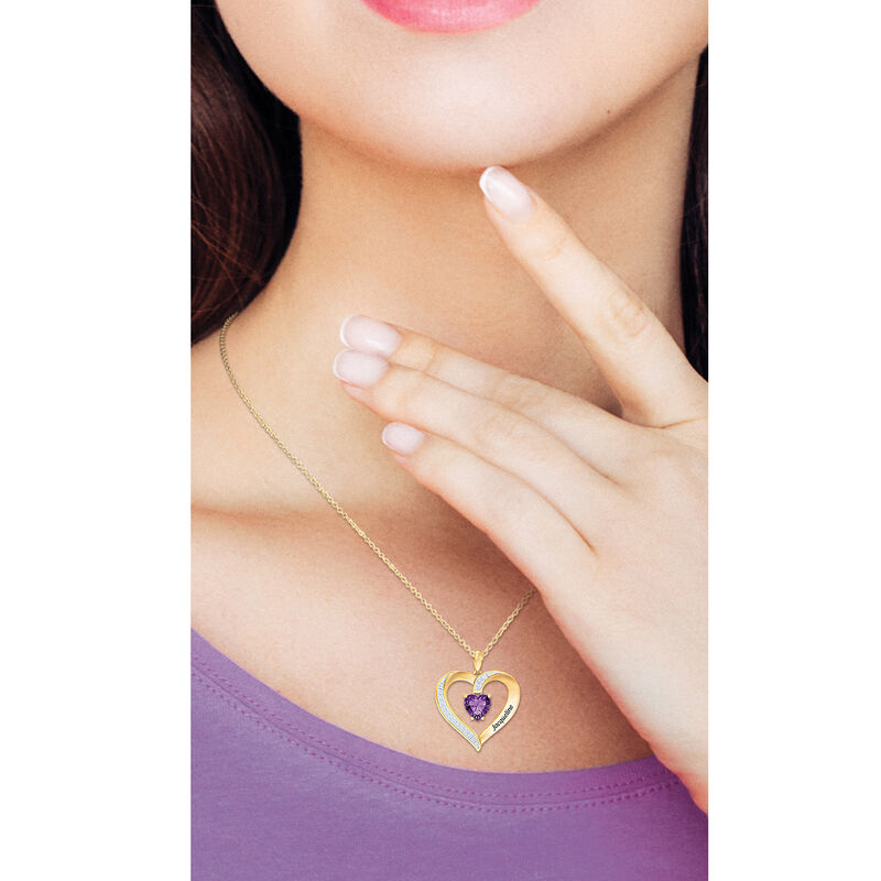 My Daughter I Love You Personalized Amethyst and Diamond Pendant 2701 0057 m model