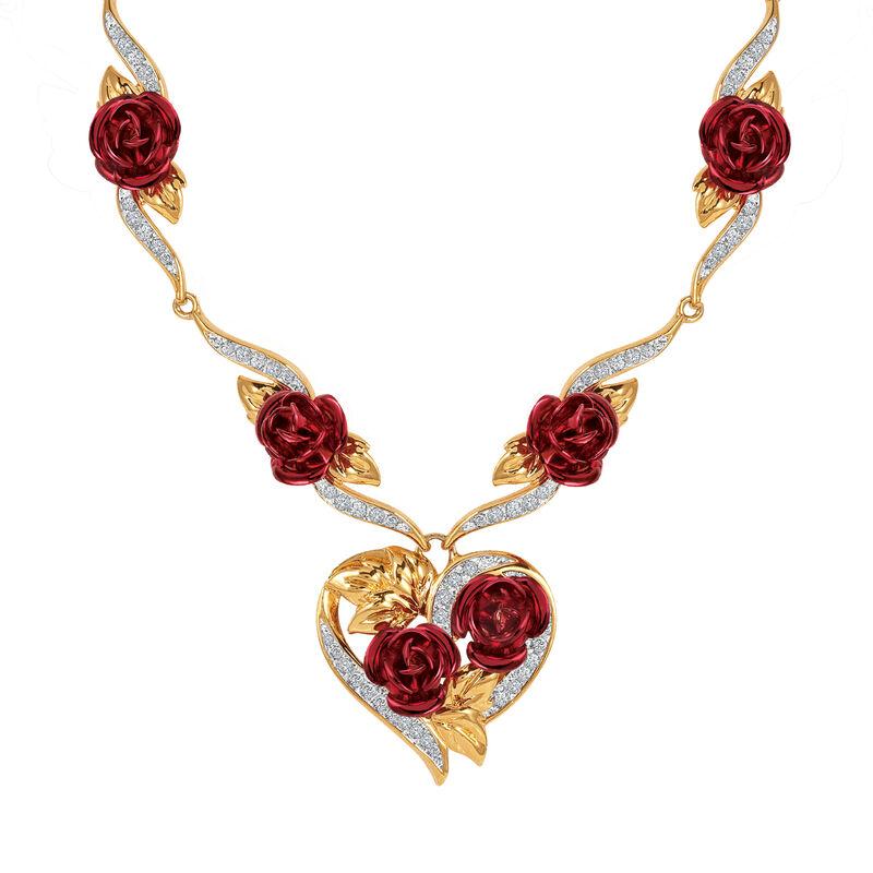A Dozen Roses Heart Necklace Earring Set 10244 0013 b necklace