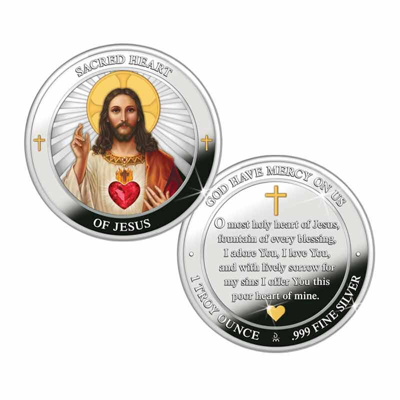 The Sacred Heart of Jesus Silver Medallion 2166 001 4 1