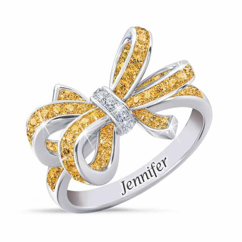 Birthstone  Diamond Bow Ring 1876 001 7 11
