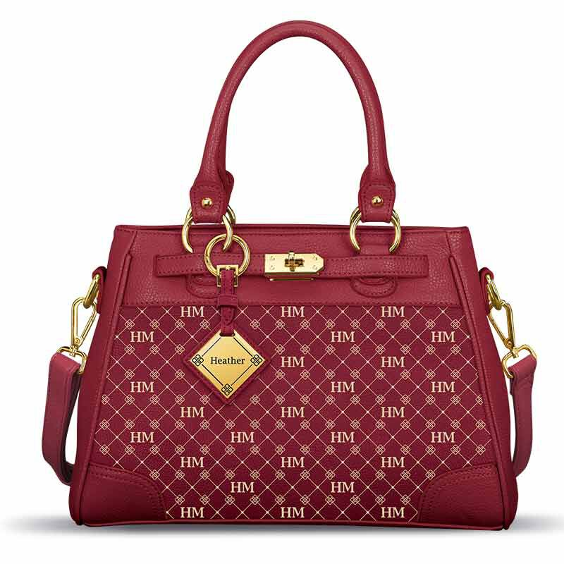 Personalized Initial Red Handbag 2209 001 3 1