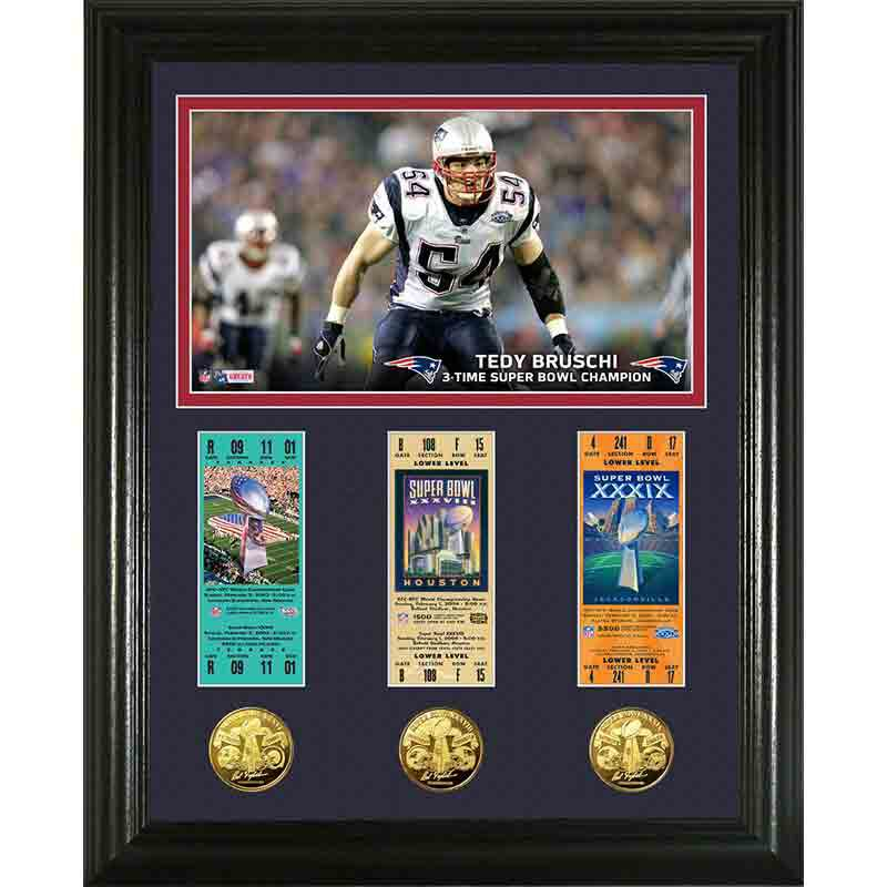 Tedy Bruschi Super Bowl Framed Commemorative 4391 114 8 1
