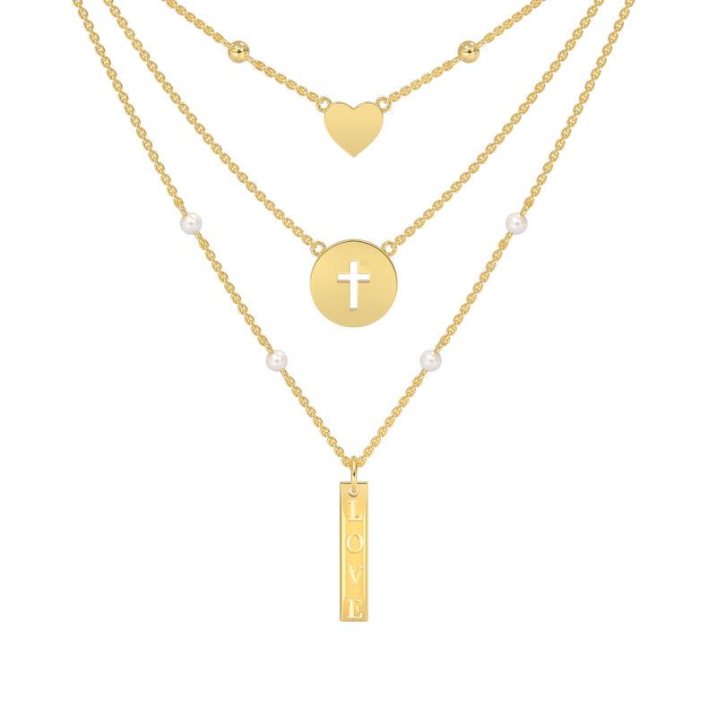 Love in Jesus Language Diamond Pearl Necklace 10226 0015 b back