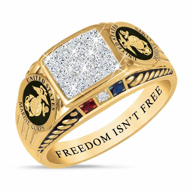 FREEDOM ISNT FREE US Marine Corps Diamond Patriot Ring 5958 006 8 1