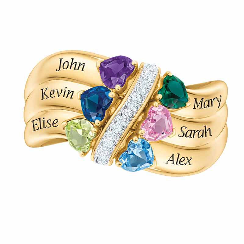 Many Hearts One Family Personalized Birthstone  Diamond Ring 6521 001 5 6