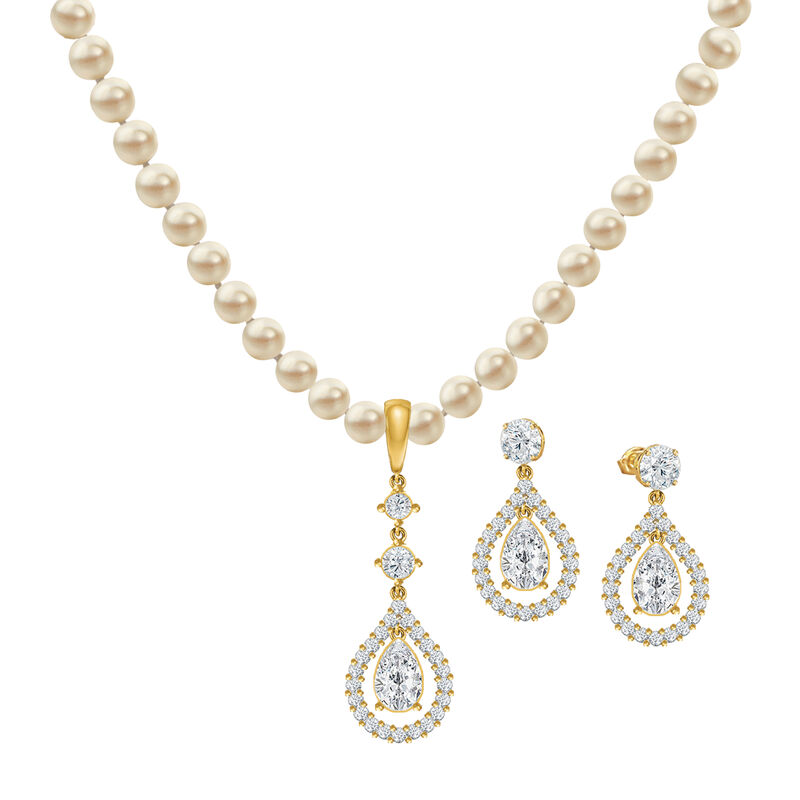Loves Embrace Pearl Necklace Earring Set 6914 0010 a main