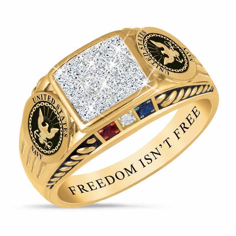FREEDOM ISNT FREE US Navy Diamond Patriot Ring 5958 007 6 1