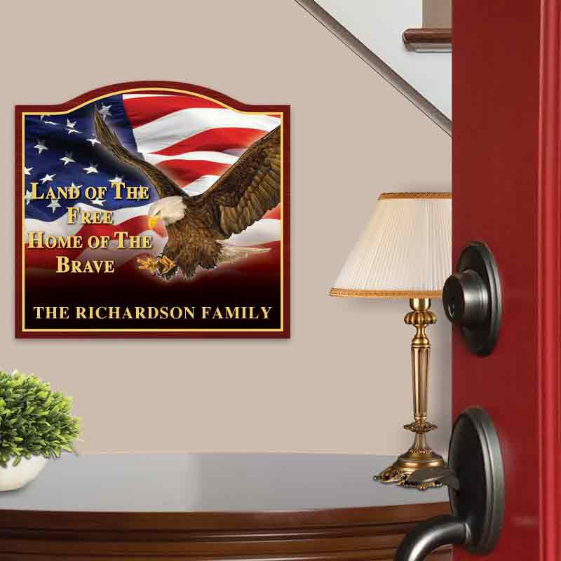 The Home of the Brave Personalized Welcome Sign 6061 001 1 2