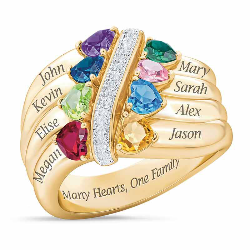 Many Hearts One Family Birthstone Ring 6521 002 3 1