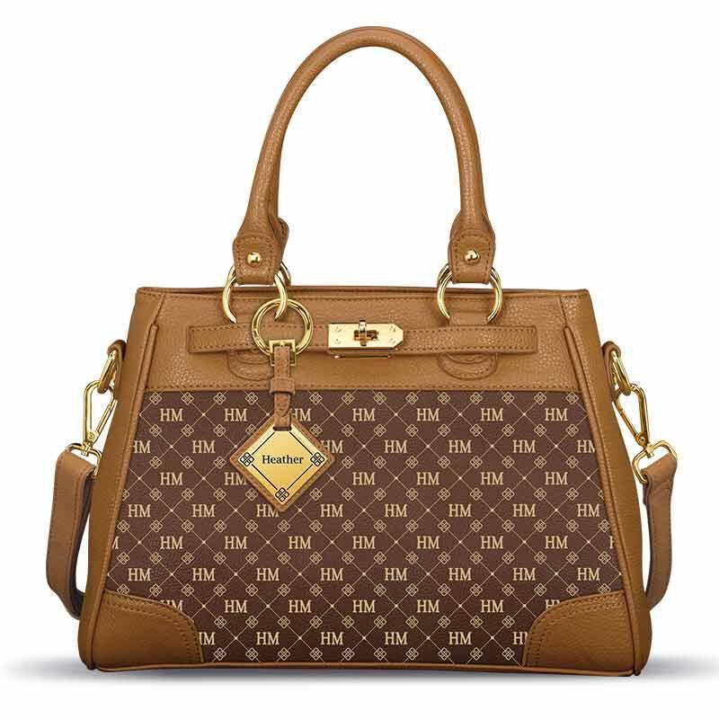 Personalized Initial Brown Handbag 1040 001 8 1