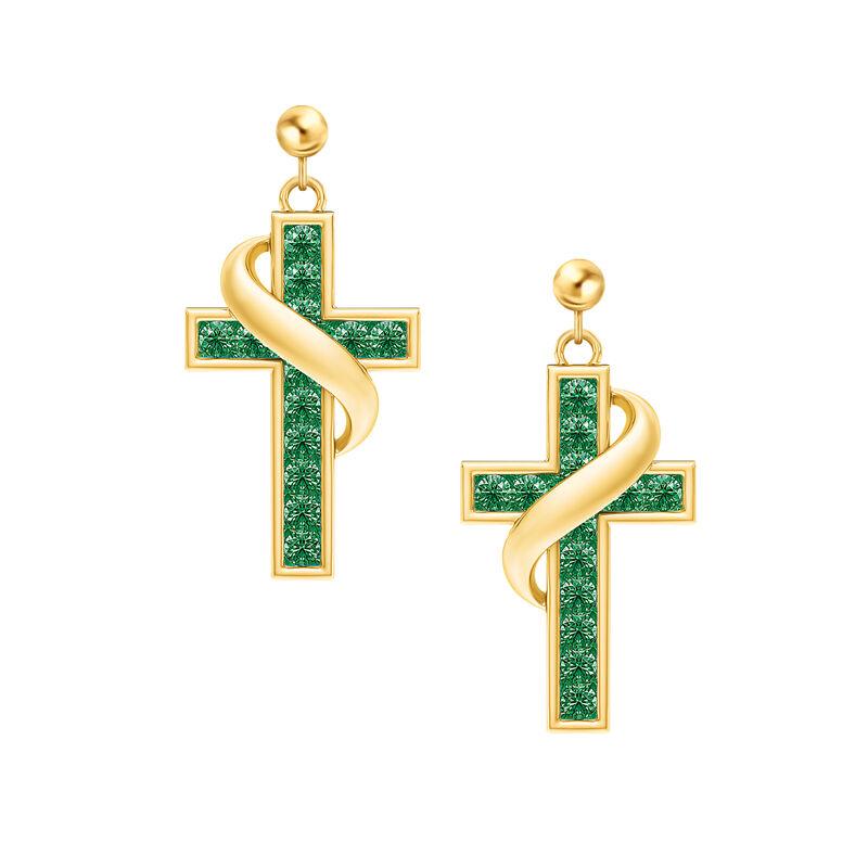 Birthstone Cross Earrings 5657 0021 e may