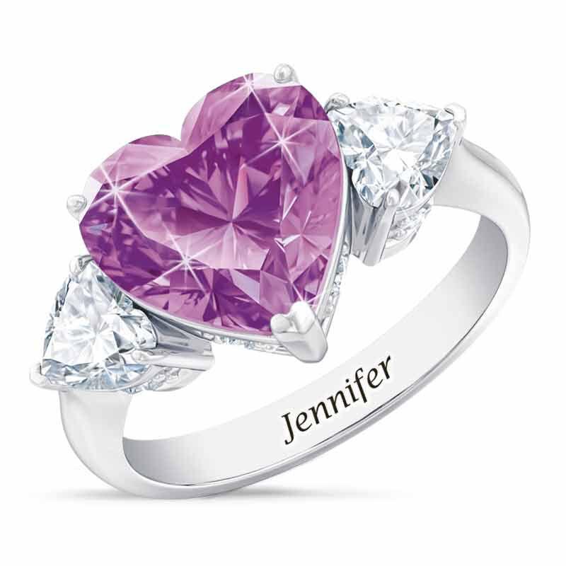 Birthstone Triple Heart Ring 1516 001 3 6